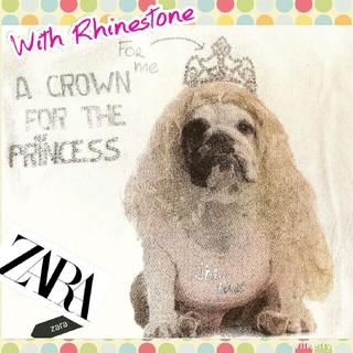 ザラ(ZARA)のZARA フレンチブルドックシャツ★ラインストーンでキラキラ思わず微笑む可愛い顔(犬)