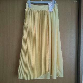 シマムラ(しまむら)のしまむら ラッププリーツスカート イエロー Mサイズ ゴム仕様 定価1,900円(ロングスカート)