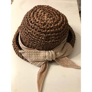 カシラ(CA4LA)のCA4LA 麦わら帽子 リボン 美品(麦わら帽子/ストローハット)