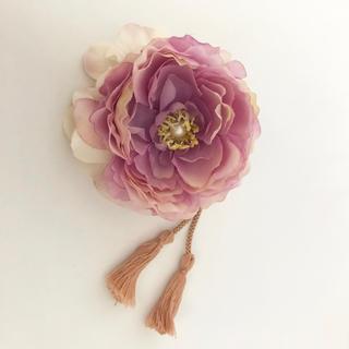 ラナンキュラスと紫陽花のタッセル髪飾り(ヘアアクセサリー)