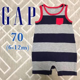 ベビーギャップ(babyGAP)のbabyGap/ノースリーブ ボーダー ロンパース 70(6-12m)(ロンパース)