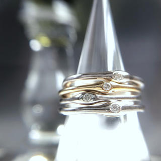 K14YG SV925 diamond ring -雫- #10-10.5(リング(指輪))