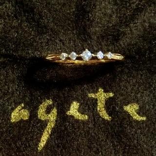アガット(agete)のアガット 0.06ct五粒ダイヤモンドのK18リング 6号(リング(指輪))