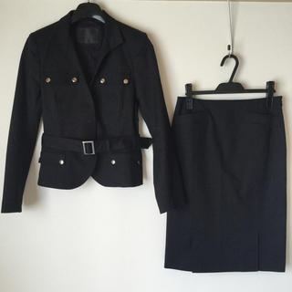 リフレクト(ReFLEcT)の【美品】リフレクト スカートスーツ 40 黒 ストレッチ 日本製 綿 秋 OL(スーツ)