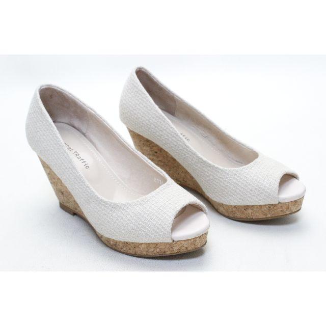 ORiental TRaffic(オリエンタルトラフィック)の64■ORiental TRaffic 豚革ウエッジオープンパンプス(36)美品 レディースの靴/シューズ(ハイヒール/パンプス)の商品写真