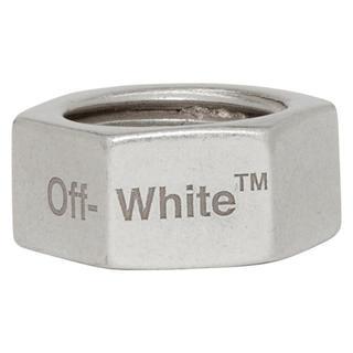 オフホワイト(OFF-WHITE)のoff-white シルバー ヘックス ナット リング オフホワイト(リング(指輪))