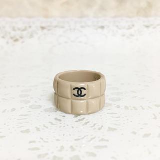 CHANEL - 正規品 シャネル 指輪 ココマーク チョコバー ベージュ  マトラッセ リング