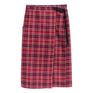 エイチアンドエム(H&M)のラップスカート チェックスカート(ひざ丈スカート)