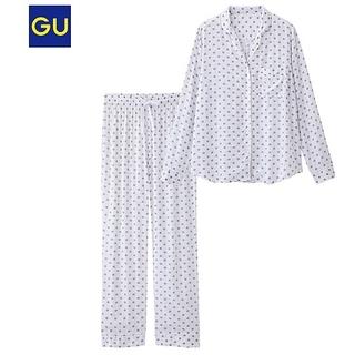 ジーユー(GU)のgu レーヨン ドット 水玉 パジャマ ホワイト グレー(パジャマ)