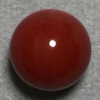 f44 天然 煌 濃赤本珊瑚 片穴 7.28 mm 2.55 ct 0.51g(リング(指輪))