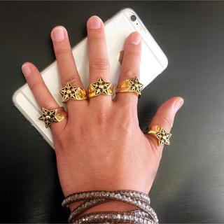チタンステンレススターリング 星 指輪 メンズ レディース(リング(指輪))