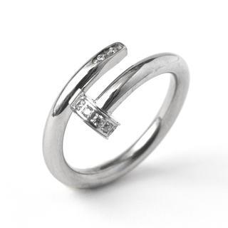 大人気★スワロ付き一本の釘リング 指輪 釘 ネイルリング(リング(指輪))