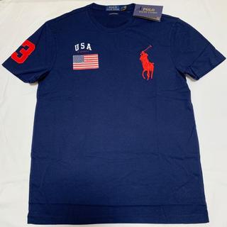ラルフローレン(Ralph Lauren)の新品 ラルフローレン ビッグポニー Tシャツ M ポロ メンズ ネイビー 国旗柄(Tシャツ/カットソー(半袖/袖なし))