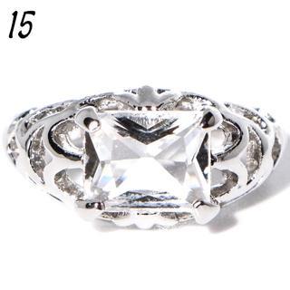 W15 リング 15号 シルバー 人工石 クリア スタイリッシュ(リング(指輪))