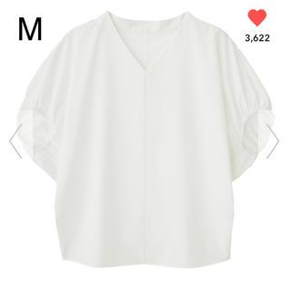 ジーユー(GU)のGU Vネックボリュームスリーブブラウス ホワイト M(シャツ/ブラウス(半袖/袖なし))