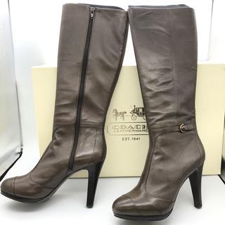 コーチ(COACH)の新品 未使用 コーチ COACH ブーツ 8B 24.5 靴 パンプス レザー(ブーツ)