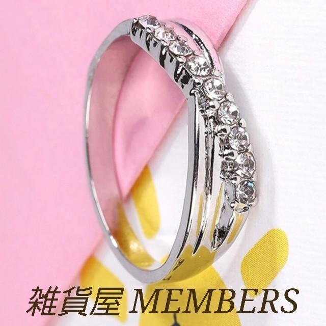 送料無料18号クロムシルバースーパーCZダイヤデザイナーズジュエリーリング指輪 レディースのアクセサリー(リング(指輪))の商品写真