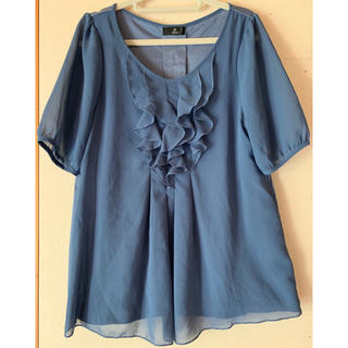 イネド(INED)のINED ブルー ブラウス トップス カットソー M(カットソー(半袖/袖なし))