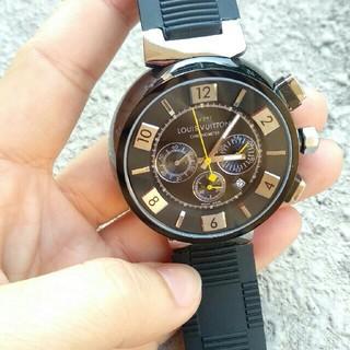 ルイヴィトン(LOUIS VUITTON)のルイ・ヴィトン タンブールインブラッククロノ オートマ 黒文字盤(腕時計(アナログ))