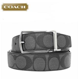 コーチ(COACH)のコーチ F64825 リバーシブルベルト シグネチャー 黒系 チャコール(ベルト)