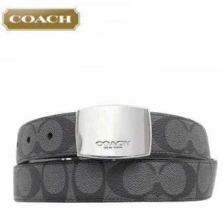 コーチ(COACH)のCOACHコーチ リバーシブルベルトF64828 シグネチャー 黒系 チャコール(ベルト)