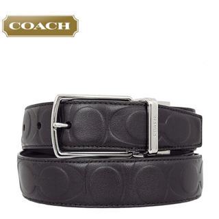 コーチ(COACH)のコーチ F64827 リバーシブルベルト 黒 シグネチャー 長さ調整可能★(ベルト)
