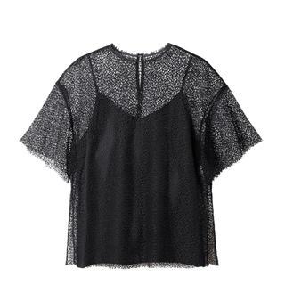 ルシェルブルー(LE CIEL BLEU)のルシェルブルー メッシュレーストップス モデル着用 新品未使用 送込み(Tシャツ(半袖/袖なし))