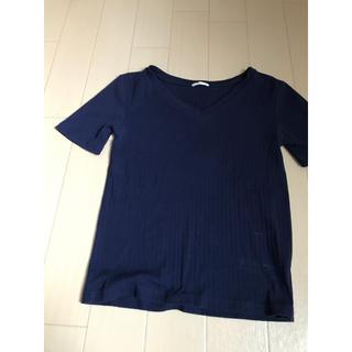 ジーユー(GU)の月末セール30日まで Tシャツ ネイビー(Tシャツ(半袖/袖なし))