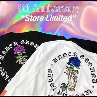 ヴァンキッシュ(VANQUISH)のvanquish 8周年記念Tシャツ 紫薔薇 白Tシャツ(Tシャツ/カットソー(半袖/袖なし))