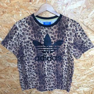 アディダス(adidas)のadidas レオパード柄 Tシャツ ビッグトレフォイル Lサイズ相当(Tシャツ/カットソー(半袖/袖なし))