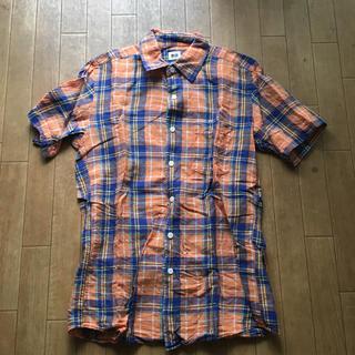 ユニクロ チェックシャツ メンズ 半袖シャツ S オレンジ&ブルー系 送料込