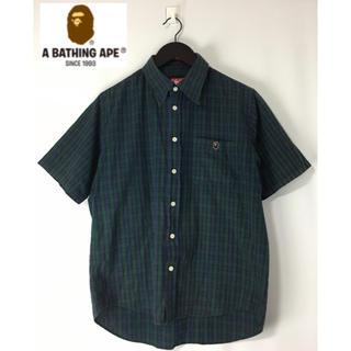 アベイシングエイプ(A BATHING APE)のAPE アベイシングエイプ 半袖チェック ボタンダウンシャツ 緑系 グリーン系M(シャツ)