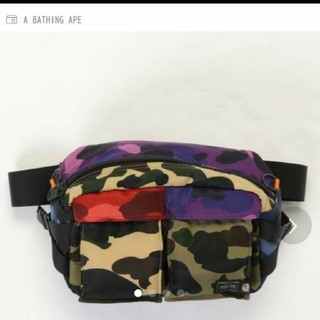 A BATHING APE - BAPE × PORTER MIX CAMO WAIST BAG M