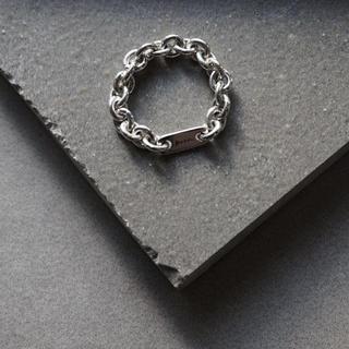 エムエムシックス(MM6)のkrm PLATE CHAIN SILVER RING(リング(指輪))