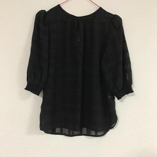 ジーユー(GU)のGU  シアーチェックブラウス  ブラック(シャツ/ブラウス(半袖/袖なし))