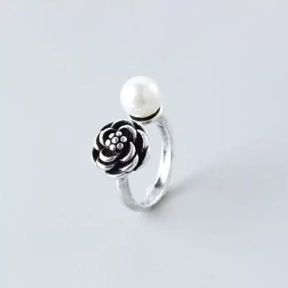 594  サイズフリー♡ レディース薔薇パールリング(リング(指輪))
