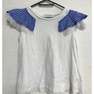 ニードルワークスーン(NEEDLE WORK SOON)のニードルワークスーン130袖フリル白(Tシャツ/カットソー)