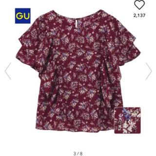 ジーユー(GU)のgu フラワーフリルブラウス(シャツ/ブラウス(半袖/袖なし))
