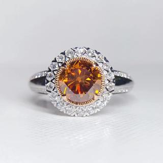 鑑定書つきファンシーディープブラウンニッシュオレンジダイヤモンド指輪(リング(指輪))
