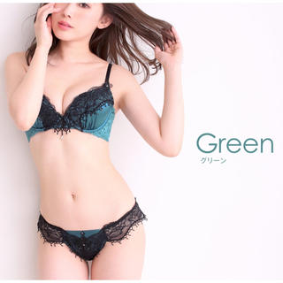 エメフィール(aimer feel)のaimerfeel ブラ&ショーツ B70 RICHレース グリーン(ブラ&ショーツセット)
