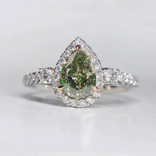 1.01ctファンシーダークグレーイエログリーンダイヤモンド指輪(リング(指輪))