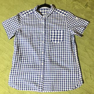 ジーユー(GU)の★ギンガムチェックシャツ★青×白(シャツ/ブラウス(半袖/袖なし))