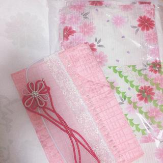 きもののやまと 浴衣セット ピンク 花柄 下駄付き クリーニング済(浴衣)