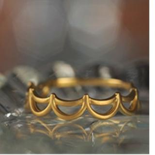 値下げ 新品 未使用 K18 YG フリル マットリング 10号サイズ(リング(指輪))