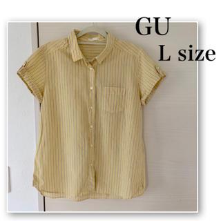 ジーユー(GU)のGU♡ストライプ カジュアル 半袖 シャツ♡イエロー♡黄色(シャツ/ブラウス(半袖/袖なし))