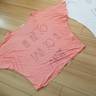 スライ(SLY)のスライ 半袖 ドルマン ゆるテロ 薄手 テロ オレンジ ピンク(Tシャツ(半袖/袖なし))