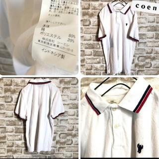 コーエン(coen)の【コーエン COEN ポロシャツ】ストライプ ロゴ有り Sサイズ(ポロシャツ)