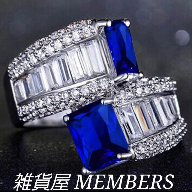 送料無料18号クロムシルバーブルーサファイアスーパーCZダイヤモンドリング指輪 レディースのアクセサリー(リング(指輪))の商品写真