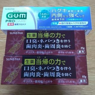 サンスター(SUNSTAR)の生薬当帰の力2本+G.U.M薬用歯周プロケア1本(歯磨き粉)