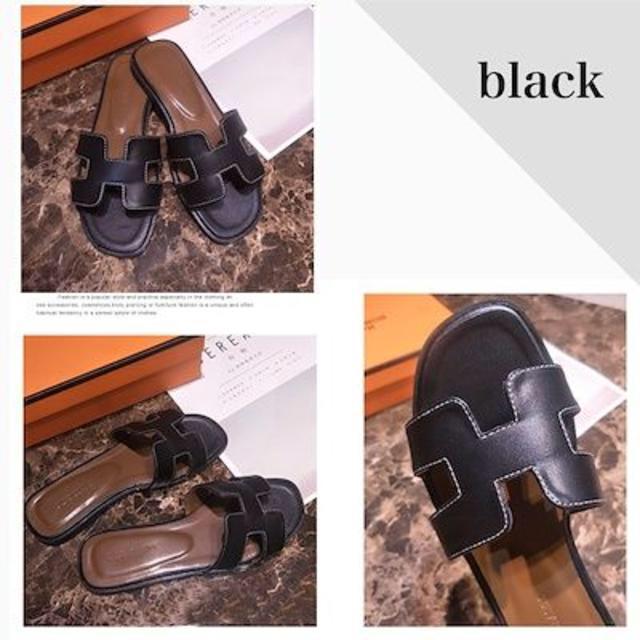 2019新作 フラットサンダル トレンドデザイン⭐️ 22.5-25㎝ ブラック レディースの靴/シューズ(サンダル)の商品写真